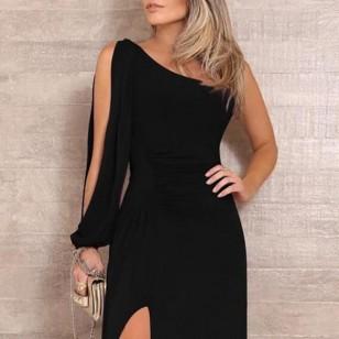 Vestido de Festa Longo Noite preto Fenda Alta Ref 7921