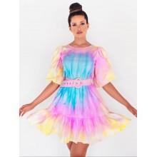 Vestido da Juliette BBB21 Tie Dye com Cinto Manga Longa Bufante
