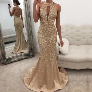 Vestido de Festa Rose ou Dourado Com Brilhantes Ref 7931