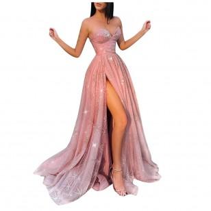 Vestido Rosa Longo de Festa Formatura Aniversário Casamento Ref 7933