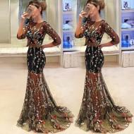 Vestido Longo Saia Bordada Floral com Transparência Ref 7928
