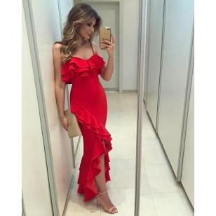 Vestido de Festa Ariane Canovas Vermelho Drapeado Ref 7506