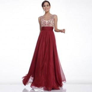 Vestido Cor Marsala Bordado Festa Casamento Formaturas Ref 7507